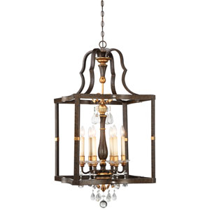 Chateau Nobles Raven Bronze with Sunburst Gold Highlight Six-Light 23-Inch Pendant