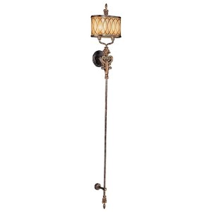 Terraza Villa Aged Patina and Gold Leaf Accent Two-Light Wall Torchiere