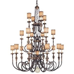 Terraza Villa Aged Patina and Gold Leaf Accent 21-Light Chandelier