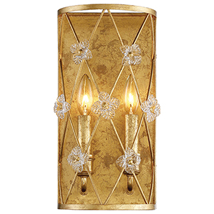 Victoria Park Elara Gold 8-Inch Two-Light Wall Sconce