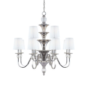 Aise Polished Nickel Two Tier Nine-Light Chandelier