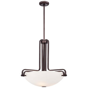 Industrial Bronze Three-Light 22.25-Inch Pendant