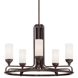 Industrial Bronze Five Chandelier