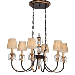 Bella Cristallo French Bronze and Gold Highlight Six-Light Island Pendant