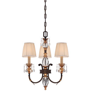 Bella Cristallo French Bronze with Gold Leaf Highlights Three-Light Mini Chandelier