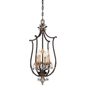 Bella Cristallo French Bronze and Gold Highlight Four-Light Foyer Pendant
