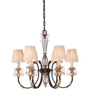 Bella Cristallo French Bronze with Gold Leaf Highlights Six-Light Chandelier