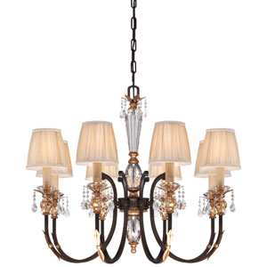 Bella Cristallo French Bronze with Gold Leaf Highlights Eight-Light Chandelier