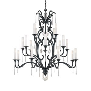 Castellina Aged Iron Twenty-Light Three-Tier Chandelier