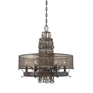 Ajourer French Bronze with Jeweled Accents Six-Light Chandelier