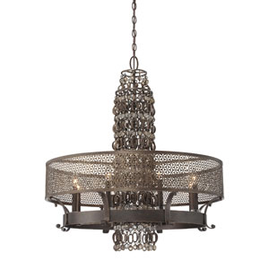 Ajourer French Bronze with Jeweled Accents Eight-Light Chandelier
