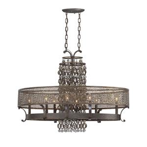 Ajourer French Bronze with Jeweled Accents Eight-Light Oval Chandelier