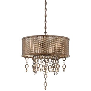 Ajourer French Bronze Six-Light Drum Pendant