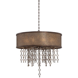 Ajourer French Bronze 10-Light Drum Pendant
