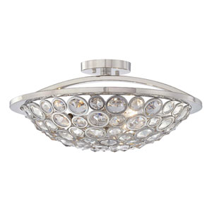 Magique Polished Nickel Three-Light Semi Flush Mount