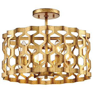 Coronade Pandora Gold Leaf 16-Inch Four-Light Semi-Flush Mount