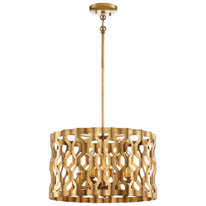 Coronade Pandora Gold Leaf 18-Inch Four-Light Pendant