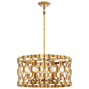 Coronade Pandora Gold Leaf 22-Inch Five-Light Pendant