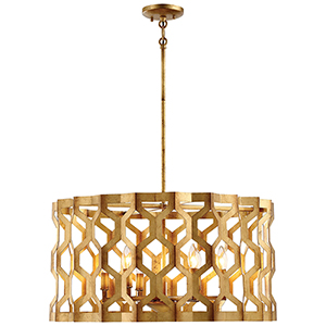Coronade Pandora Gold Leaf 26-Inch Six-Light Pendant