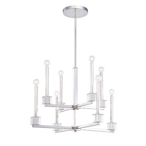 Chadbourne Polished Nickel Two Tier Eight-Light Chandelier