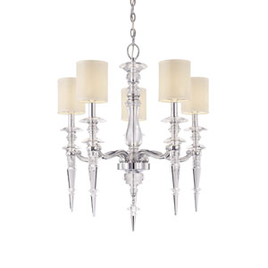 Walt Disney Signature Chrome with Crystals Accents Five-Light Chandelier with White Linen Shade