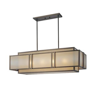 Walt Disney Signature Underscore Cimarron Bronze Four-Light Rectangular Chandelier