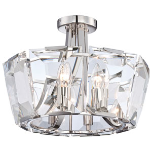 Castle Aurora Polished Nickel Eight-Light Semi-Flush Mount