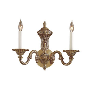 Vintage Two-Light Antique Brass Wall Sconce