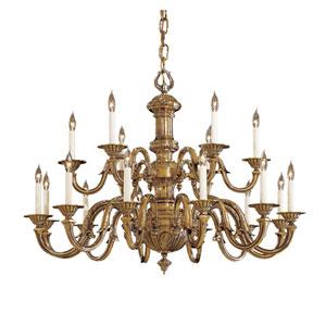 Vintage Antique Brass Eighteen-Light Two-Tier Chandelier