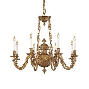 Vintage Antique Brass Eight-Light Chandelier