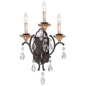 Cortona French Bronze with Gold Highlight Three-Light Wall Sconce