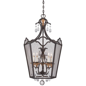 Cortona French Bronze with Gold Highlight Five-Light 24-Inch Pendant