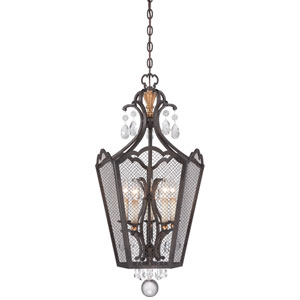 Cortona French Bronze with Gold Highlight Five-Light 18-Inch Pendant