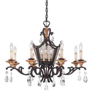 Cortona French Bronze with Gold Highlight Four-Light Chandelier