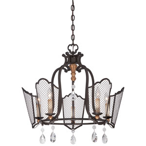Cortona French Bronze with Gold Highlight Five-Light 25-Inch Chandelier