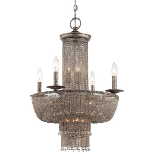 Shimmering Falls Antique Silver 15-Light Chandelier