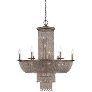Shimmering Falls Antique Silver 16-Light Chandelier