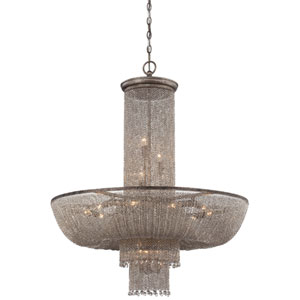 Shimmering Falls Antique Silver 18-Light Chandelier