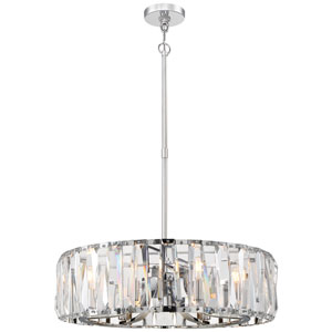 Coronette Chrome Eight-Light 27-Inch Chandelier