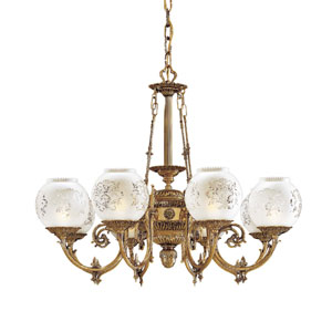 Vintage Eight-Light Etched Glass Chandelier
