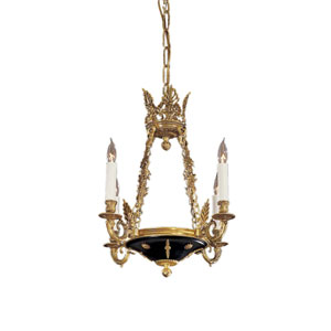 Vintage Four-Light Dore Gold Chandelier