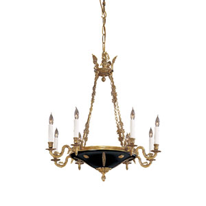 Vintage Eight-Light Dore Gold Chandelier