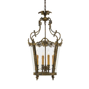 Vintage Antique Bronze Patina Lantern Pendant