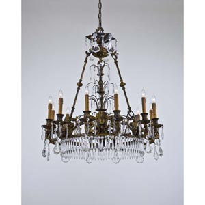 Metropolitan Oxide Brass Twelve-Light Chandelier with Tan Drip Candlesleeves