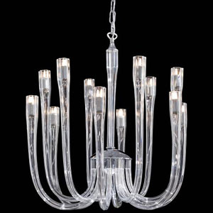 Metropolitan Chrome and Clear Glass 25.25-Inch 12-Light Chandelier