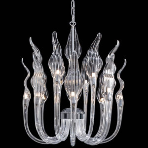 Metropolitan Chrome and Clear Glass 16-Light Chandelier