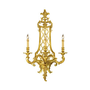 French Gold Three-Light Wall Sconce with Tan Drip Candle Sleeves Shade