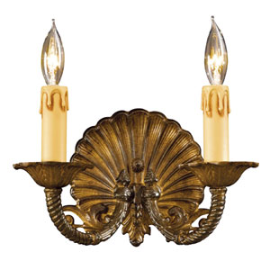 Antique Bronze Patina Two-Light Wall Sconce with Tan Drip Candle Sleeves Shade