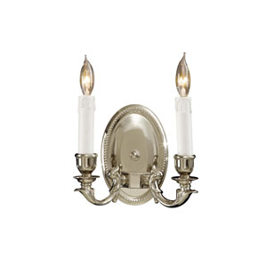Polished Chrome Two-Light Wall Sconce with White Drip Candle Sleeves Shade