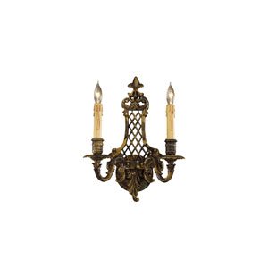 French Gold Two-Light Wall Sconce with Tan Drip Candle Sleeves Shade